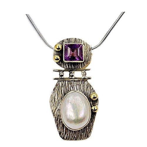 Pearl Pendant Sterling Silver Biwa - Amethyst, Simulated Biwa Pearl & Sterling Silver Pendant Necklace