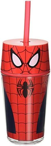 Zak Marvel 1555-2996 Spiderman Vaso con Tapa y Popote de Plástico Libre de BPA Aisaldo Doble Pared 400 ml, Roj