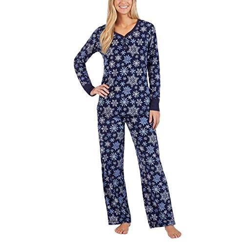 Nautica Women's 2 Piece Fleece Pajama Sleepwear Set (Dark Blue Snowflakes, Large)