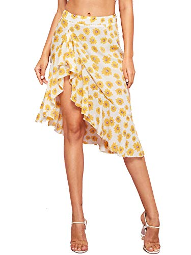 Verdusa Women's Ruffle Trim Floral Print Asymmetrical Skirt Multicolor XS