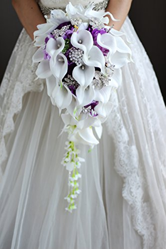 - IFFO New Bridal Bouquet, Wedding Flowers, Calla Lilies, Artificial Flowers, Waterfalls, Water Drop Style, Collection Decorations (purple)