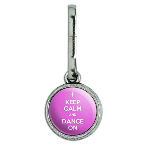 Antiqued Charm Clothes Purse Luggage Backpack Zipper Pull Keep Calm and A-H - Dance On Ballet Dancer - Keep Calm and (Dance Zipper)