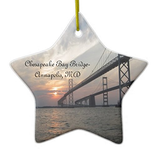 Rutehiy Christmas Ornaments Holiday Tree Ornament Sunset Over The Chesapeake Bay Bridge Both Sides Star Ceramic Ornament Crafts