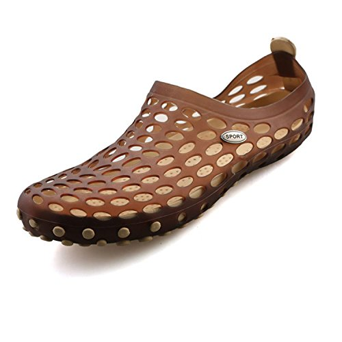 Eagsouni Men's Summer Pull-On Water Aqua Slip On Walking Shoes Beach Hole Sandals Brown Size 10.5 by Eagsouni