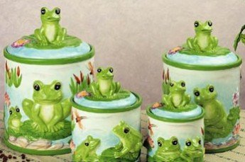FROG green froggy 4 CANISTER SET kitchen storage decor Ceramic 4 Pcs Rubber Seal