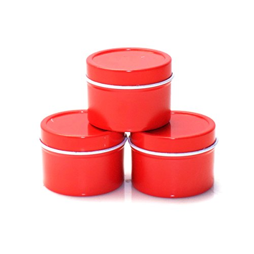 Wedding Favors Gel Candle - Mimi Pack 1 oz Deep Round Metal Tin Container Solid Slip Top Lid For Salves, Favors, Spices, Balms, Candles, Gifts Limited Run Series 24 Pack (Red)