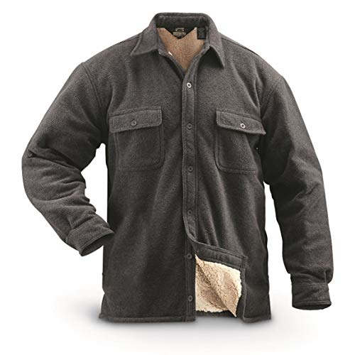 Guide Gear Mens Sherpa Lined Fleece CPO Shirt, Charcoal, XL