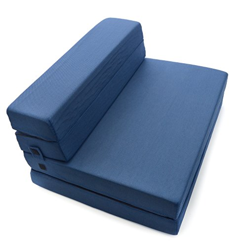 Tri Fold Futon Mattress (Milliard Tri-Fold Foam Folding Mattress and Sofa Bed for Guests or Floor Mat - Twin XL 78x38x4½ Inch)