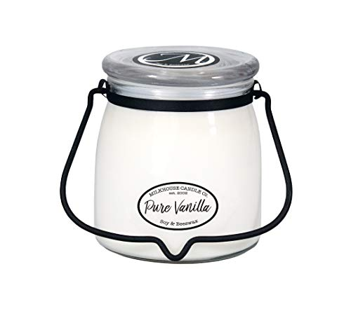 Milkhouse Candle Creamery Butter Jar Candle, Pure Vanilla, - Candle Oz Classic Jar 16