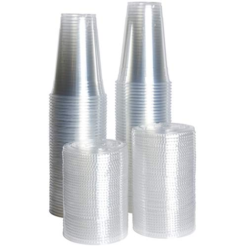 [ZEML] 100 Sets Plastic Cups With Lids, Smoothie Cups, Milkshake Cups - 20 oz. (20 Ounce Plastic Cups)