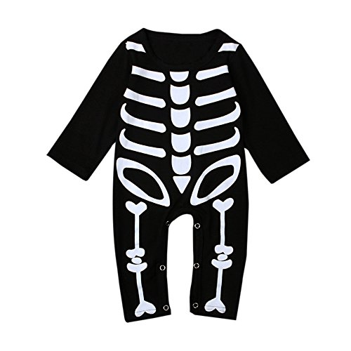 Beide Baby Girls Boys Skeleton Print Romper Halloween Costume(18-24M)