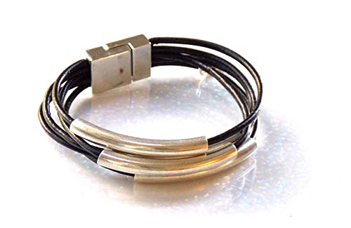 (Magnetic Clasp Leather Bracelet, 5 Strands and Silver Tubes)