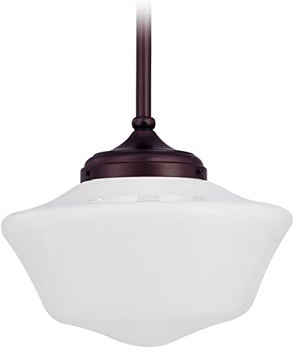 Design Classics Lighting 14 Inch Retro Farm Style Bronze Schoolhouse Pendant Light with Milk Frosted Glass