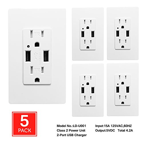 Charging Receptacle ([5 Pack] SECKATECH 4.2A Smart High Speed Dual USB Charger Wall Outlet, 15A Tamper Resistant Outlet, Each Charging Receptacle with 10 Free Wall Plates-White (UL Listed))
