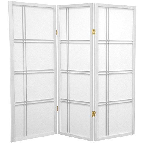 Oriental Furniture 4 ft. Tall Double Cross Shoji Screen - White - 3 Panels by ORIENTAL FURNITURE
