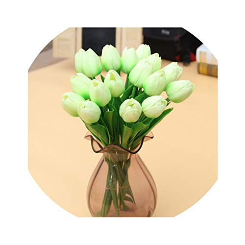 winkstores 1 Pcs Fake Red Tulips Silk Tulip Artificial Flowers Tulips for Home Decoration Lot Artificial Flowers,Tulip D14 LightGreen