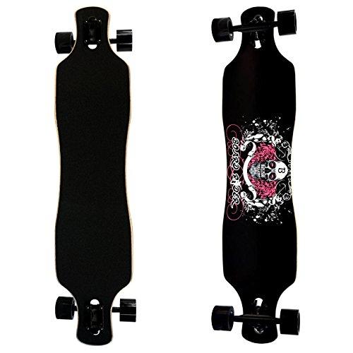 Drop Through Longboard Skull Print Maple Deck Freestyle High Density Downhill Freeride