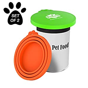 PETMAKER Silicone Pet Food Can Lids-Keep Opened Dog or Cat Food Portions Fresh-Fits 3oz, 5.5oz, 12oz, and More-Easy Storage, BPA-Free by (Set of 2) 40