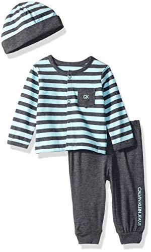 Calvin Klein Baby Boys 2 Pieces Cardigan Pant Set with HAT, Mint/Gray, 0-3 Months Calvin Klein Cotton Cardigan