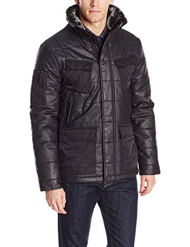 (Calvin Klein Jeans Men's Coated Puffer Jacket, Black X-Large)
