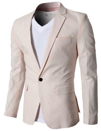 H2H Mens Fashion Wearable Linen Blazer Jackets PINK US XS/Asia M (KMOBL061)