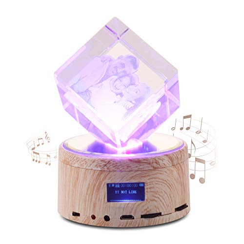 One-deal Personalized Photo Engraved Crystal - Custom Square Shape Laser Engraved Crystal with Wireless Bluetooth Speaker Music Box Base for Family Wedding Photo Frame
