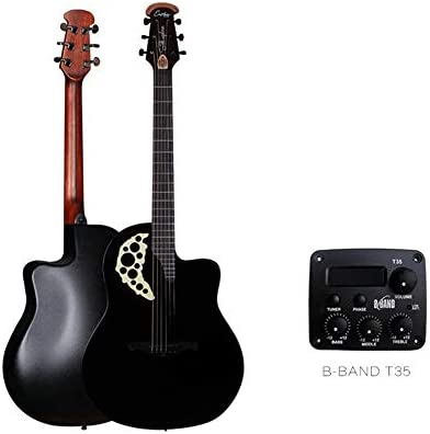 アコースティックギター スプルース単板ギターエレクトロラウンド戻るブドウホールフォークアコースティックギター 小学生 大人用 ギター初級 セット (色 : Black, Size : 41 inches)