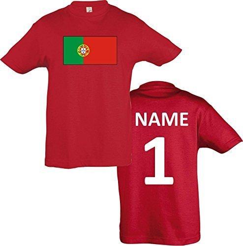 Kids T-Shirt Portugal Ländershirt mit Wunschnamen und Nummer diverse Farben, Farbe rot, Größe 128