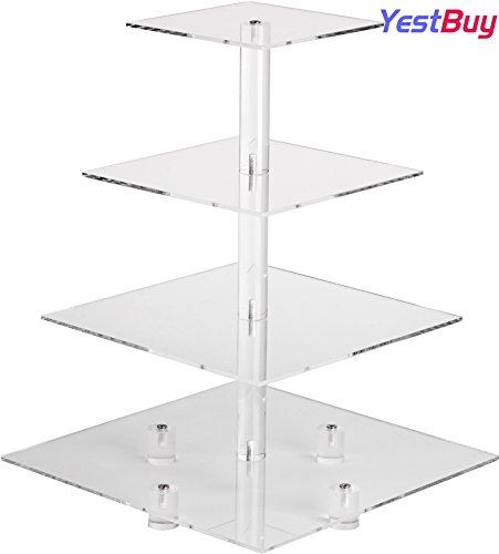 YestBuy 4 Tier Maypole Clear Square Wedding Acrylic Cupcake Display Stand (16.3 Inches) … by YestBuy