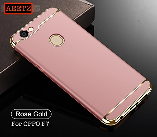 online store dc692 39f8b AEETZ All Angle Protection 360 Degree Ultra-Slim Lightweight 3-in-1 Matte  Hard Back Cover for Oppo F7 (Rose Gold)