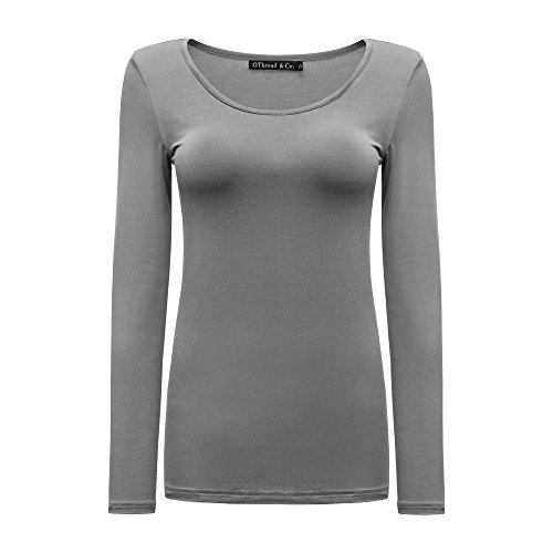 Grey Long Sleeve Tee (OThread CO. Women's Long Sleeves T-Shirt Scoop Neck Plain Basic Spandex Tee (Small, Grey))
