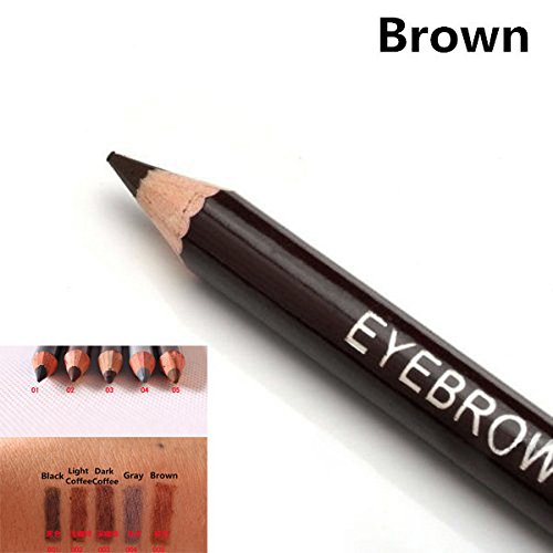 1 Pc Brown Eyebrow Pencil Two Sides With Brush Leopard Design Metal Casing Long-Lasting 5 (2 Lancome Color Design)