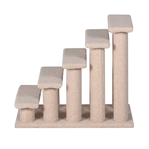"Good Life 25"" 5 Steps Pet Stairs Carpeted Ladder Ramp Cats Scratching Post Cat Tree Climber for Cat Small Dogs Rabbit Beige"