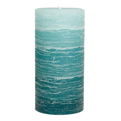 (Nordic Candle - Layered Pillar Candle - 3x6 Inch Teal - Unscented )