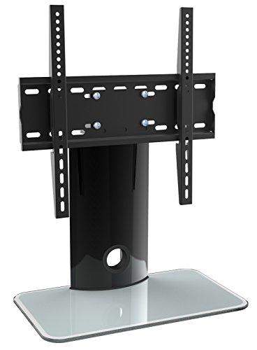 RICOO LCD TV Ständer FS303W Fernsehtisch TV Standfuss Glas Standfuß TV Halterung Fernsehstand TV LED Fernseher Stand Flachbildschirm Aufsatz Möbel Rack VESA 400x400 Universal | inkl. Kabelführung |