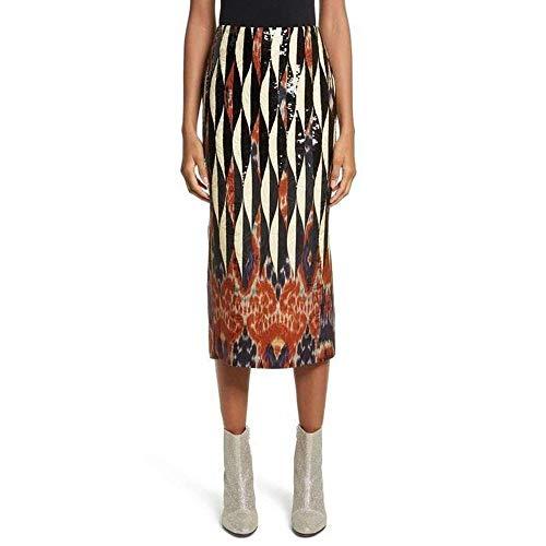 DRIES VAN NOTEN Shine Embroidered Ikat Midi Skirt (Dries Noten Skirt Van)