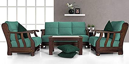 Zikra Prestige Wooden Sofa Set Configration 3 1 1 Solid Wood Sofa Set Green Colour