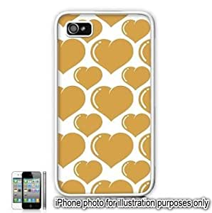 Gold Bubble Hearts Love Monogram Pattern Apple iPhone 4 4S Case Cover Skin White hjbrhga1544