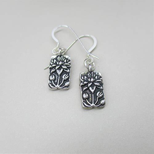 Lotus Flower Earrings - Flower Charm - Lotus Earrings - Lotus - Flower Jewelry - sterling silver ()
