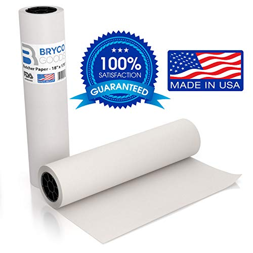 White Kraft Butcher Paper Roll - 18 inch x 175 Feet (2100 inch) - Food Grade FDA Approved - Great Smoking Wrapping Paper for Meat of All Varieties - Made in USA - Unwaxed and Uncoated - Bryco Goods Block Out Matte Paper