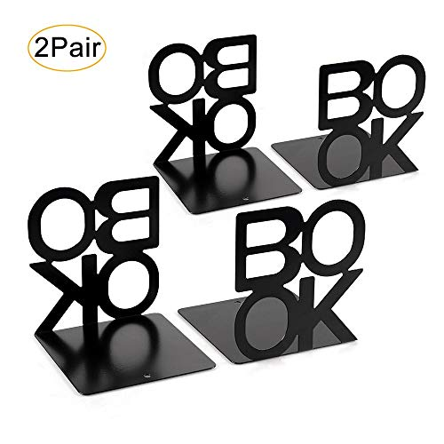 Metal Bookends, Nonskid Letter Pattern Book Ends for Shelves Office Decorative, Book Stopper for Books, DVD, Video Games, Maganize,Black 4.9 x 5.1 x 5.5inch, 2Pair/4Piece