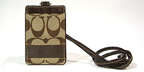 Coach ID Lanyard Case 61766 Brown Signature Stripe Patent...
