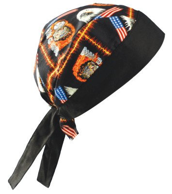 OccuNomix TN5-MOT Motorcycle Tuff Nougies 100% Cotton Doo Rag Tie Hat With Plastic Hook Closure And Holographic Hangtag (1/EA)