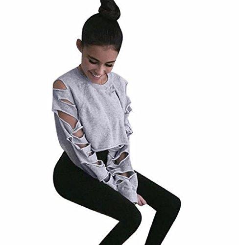 [VESNIBA Women Long Sleeve Hollow Hole Short Sweater Shirt Blouse Tops (L, Gray)] (Dance Costumes Online America)