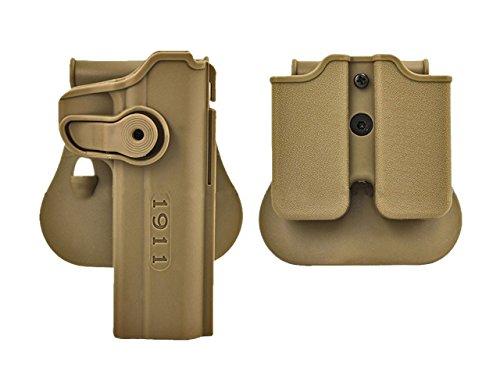 LTY Tactical Colt 1911 M1911 RH Pistol Paddle Belt Holster Gun Magazine Holster (tan) (Colt M1911 Holster)