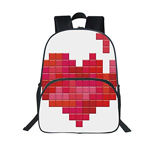 Valentines Day Multifunction School Bag,Video Game Tetris Red Heart Vintage Pixelated Design Joyful Romantic for School Travel,One_Size (Mew Video Game)