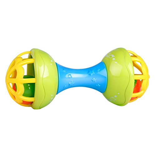 Sikye Gift for Baby Musical Hand Shaking Rattle Toy Todder Educational Teether Dumbbell Toy -