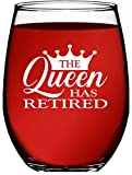 Retirement Gifts for Women - The Queen Has Retired 15 oz Individually Boxed Unique and Funny Stemless Wine Glass Gift for Retirement Parties - Retirement Gifts by Funny Bone Products (QUEEN)