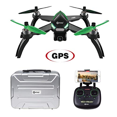 Fathers Day Sale Contixo F20 RC Remote App Controlled Quadcopter Drone | 1080p HD WiFi Camera, Follow Me, Auto Hover, Altitude Hold, GPS, 1-Key Takeoff/Landing Auto Return Home Includes Storage ()