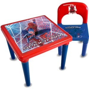 Spiderman Table And Chair Kids Children Boys Furniture Play Room Bedroom Plastic